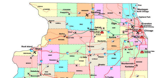 This is a picture of Printable Map of Illinois for map direction
